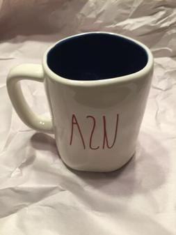 New RAE DUNN Red LL USA 4th Of July Mug With Blue Inside By