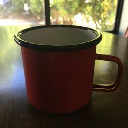 NEW! Rustic Western Outdoors Red Enamel Camping Mug Look