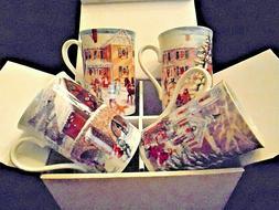 "NEW Set of 4 LENOX ""American Christmas"" Mugs, 12 oz., 4.5"" x"