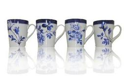 New Set of 4 Blue and White Floral Stoneware Ceramic Mugs  1