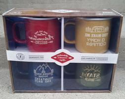 NEW Set of 4 Large Adventure Outdoor Camping Color Ceramic S