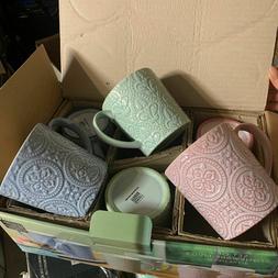 New set of 6 Mikasa Gourmet basics stone ware mugs N11