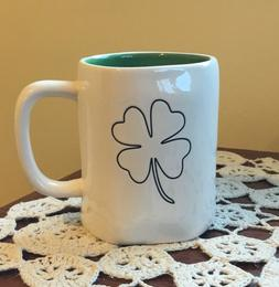 🍀🍀New Rae Dunn Shamrock Coffee Mug Green Interior St.