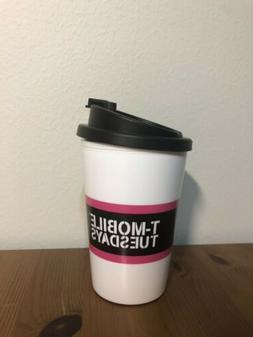 New T-Mobile Travel Mug Cup w/ Lid, Snap Seal BPA Free - Mic