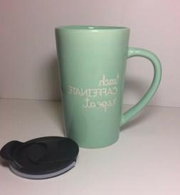New Teal 'Teach, Caffeinate, Repeat' Ceramic Mug With Li