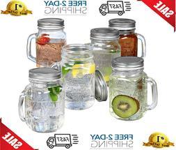 NEW Vintage Mason Jar Mugs Glass,Drinking Jars With Handles