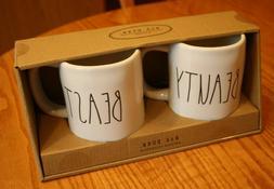 NIB RAE DUNN MAGENTA BEAUTY & BEAST COFFEE MUG SET BIRTHDAY