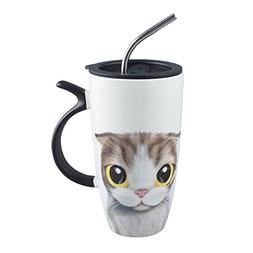 Neolith 20 Ounces Novelty Cat Cartoon Mug Large White Cerami