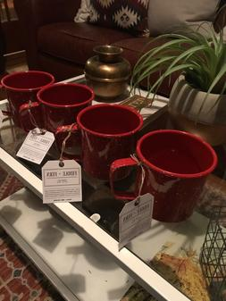 NWT Set Of 4 Fiddle + Fern 24 oz Enamel white speckled red m