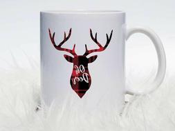 Oh Deer Coffee Mug | Buffalo Plaid Deer Coffee Mug | Deer Co