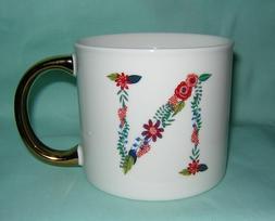 "Opal House Floral Monogram Initial ""N"" Porcelain Coffee Mug"