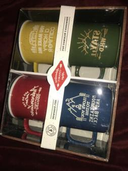 Outdoor Adventure Ceramic Mugs 4 Pk Stoneware New In Box Hap