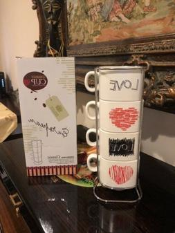Overlap Mugs 4 In 1 Ceramic Coffee Tea Cups Set with HEART G