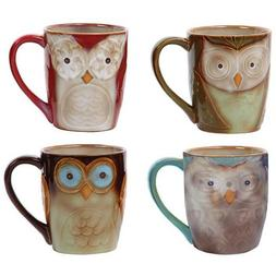 Coffee Cup set  by Gibson Owl City 17 oz  Mug Set Assorted c