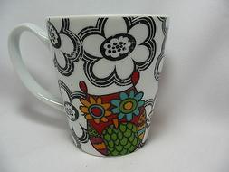 Owls Flowers Coffee Cup Mug 12 oz Alexandra and Company Red