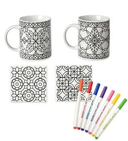 Color Your Own Mugs and Coasters Set, Geometric