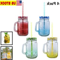 Pack of 4 Mason Jar Mugs with Handle Tin Lid and Plastic Str