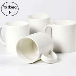 Pack of 4 Plain Gloss White Ceramic Coffee Mug for Milk Tea,