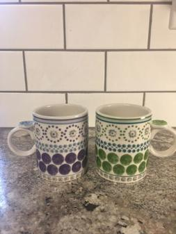 Pair Anthropologie Biscuit Coffee Tea Floral Hand painted Sm