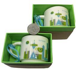 PAIR OF NEW STARBUCKS SEATTLE Espresso Cups Skyline YAH Demi