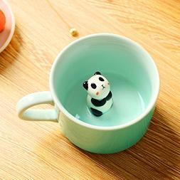 Panda Surprise 3D Coffee Mug Cute Cartoon Animal Ceramics Cu