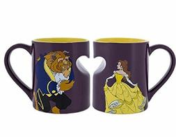 Disney Parks Belle Beauty and the Beast Heart Cup Mug Set Di