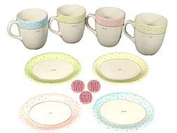 Rae Dunn Pastel Polka Dot Mugs and Plates Gift Set - Mothers