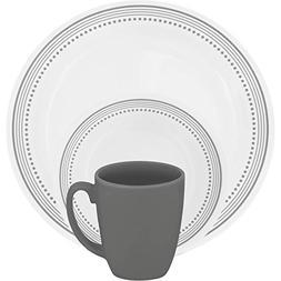 Corelle 16 Piece Pattern of Bands & Dots Livingware Dinnerwa