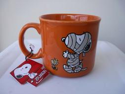 Peanuts Mug Snoopy Woodstock Halloween Mummy Brownish-Orange