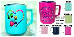 Personalized Stainless Cup with Lid and Handle - Choose Colo