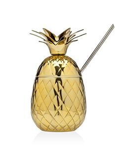 Klikel Pineapple Covered Gold Party Mug With Straw And Toppe
