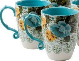 Pioneer Woman Stoneware Rose Shadow Jumbo 26 Oz Latte Mug Te