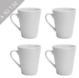 LEANDALE Plain White Ceramic Cup set,Coffee Mug Set,Set of 4