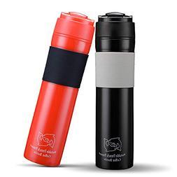 BRBHOM Set of 2 Portable Travel French Press Coffee Mug and