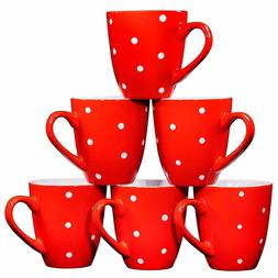 Bruntmor Polka Dot Ceramic Coffee Mugs Set of 6 Large sized