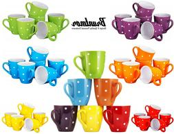 Polka Dot Coffee Cups Mugs Set of 6 Large sized 16 Ounce Cer