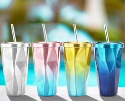 Pop Stainless Steel Tumbler Cup with Straw Hot and Cold Doub