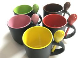 Coffee Cup Set of 6, Mug with Accent Spoon Tea Cups 12 Oz. P