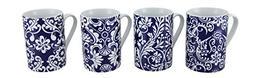 Porcelain Coffee Cups 4 Piece Blue & White Floral Ivy Porcel