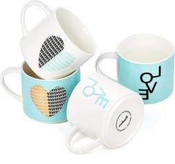 Bruntmor Porcelain Coffee Cups Mugs Set of 6 Large sized 12