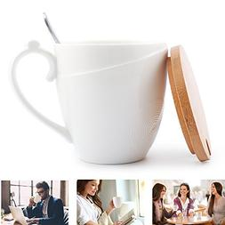 Porcelain Coffee Mug with Bamboo Lid - Ceramic Handle - Stai