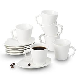 Porcelain Espresso Cups Leaves series 2 oz Cups & Saucers Se