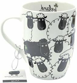 porcelain mug black and white sheep motif