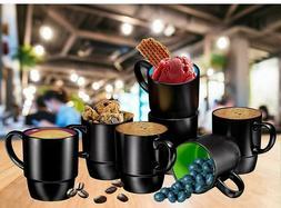 Bruntmor Ceramic Stacking Coffee Mug Set Tea Cup Set of 6 Ma