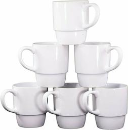 Bruntmor 18 Ounce Porcelain Stackable Coffee Cups Mugs Set o