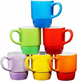 Bruntmor Ceramic Stacking Coffee Mug 18 Ounce Tea Cup Set of