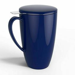 Porcelain Tea Mug with Infuser and Lid, 15 OZ, Navy - by Swe