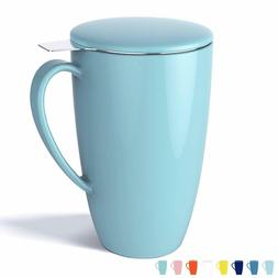 Porcelain Tea Mug with Infuser and Lid, 15 OZ, Turquoise