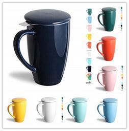 Sweejar, Porcelain Tea Mug with Infuser&Lid,Teaware with Fil