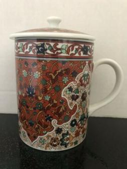 PORCELAIN TEA MUG WITH LID -THE TOSCANY COLLECTION JAPAN